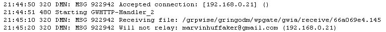 GroupWise GWIA Log Will Not Relay