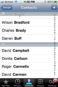 GroupWise-iPhone-contacts List