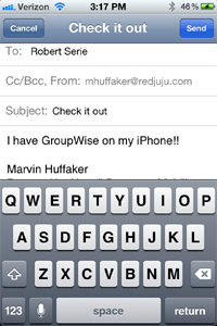 GroupWise Email on iPhone - Demo Compose View