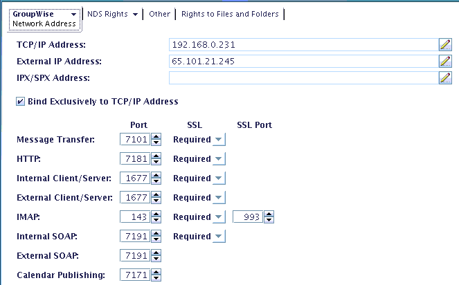 Ports and IP Addresses in ConsoleOne