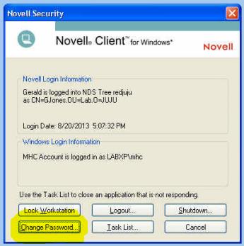 Novell Security Dialog
